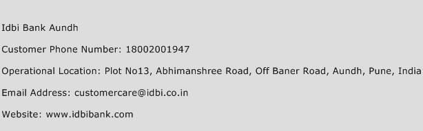 Idbi Bank Aundh Phone Number Customer Service