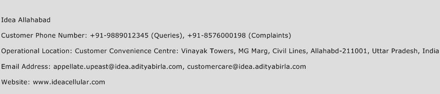 Idea Allahabad Phone Number Customer Service