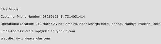 Idea Bhopal Phone Number Customer Service