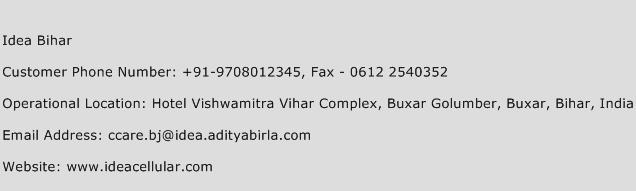 Idea Bihar Phone Number Customer Service