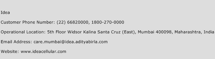 Idea Phone Number Customer Service