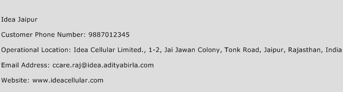 Idea Jaipur Phone Number Customer Service