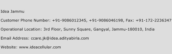 Idea Jammu Phone Number Customer Service