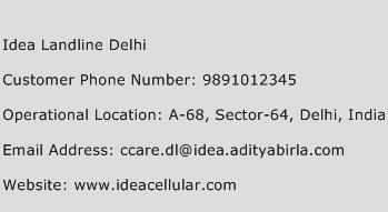 Idea Landline Delhi Phone Number Customer Service