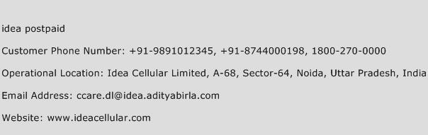 Idea Postpaid Phone Number Customer Service