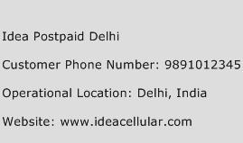 Idea Postpaid Delhi Phone Number Customer Service