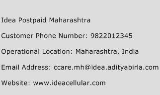 Idea Postpaid Maharashtra Phone Number Customer Service