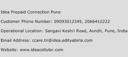 Idea Prepaid Connection Pune Phone Number Customer Service