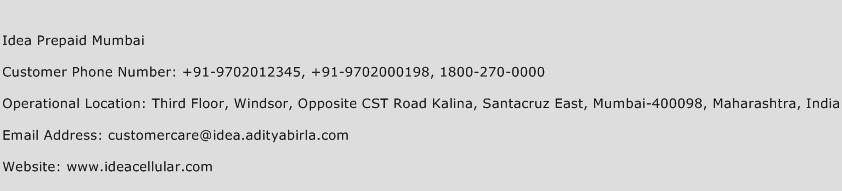 Idea Prepaid Mumbai Phone Number Customer Service