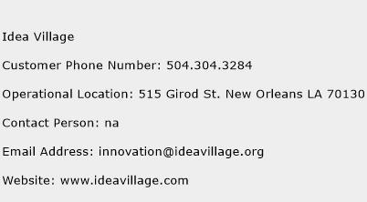 Idea Village Phone Number Customer Service