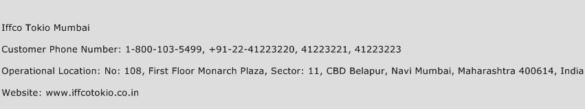 Iffco Tokio Mumbai Phone Number Customer Service