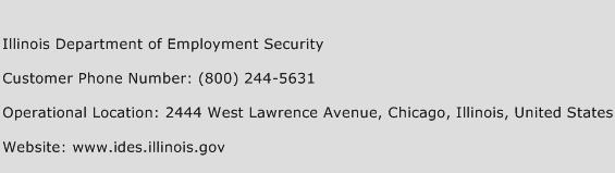 Illinois Department of Employment Security Phone Number Customer Service