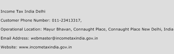 Income Tax India Delhi Phone Number Customer Service
