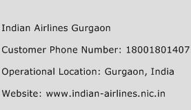 Indian Airlines Gurgaon Phone Number Customer Service