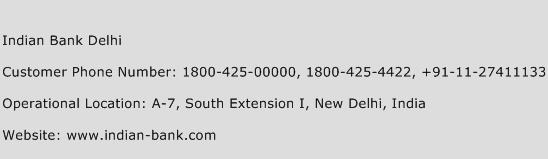 Indian Bank Delhi Phone Number Customer Service