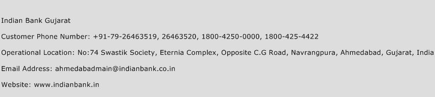 Indian Bank Gujarat Phone Number Customer Service