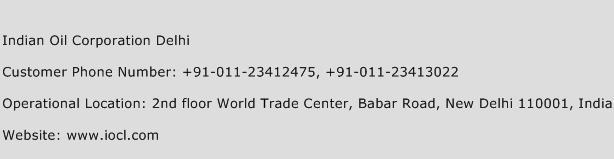 Indian Oil Corporation Delhi Phone Number Customer Service