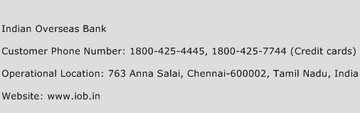 Indian Overseas Bank Phone Number Customer Service