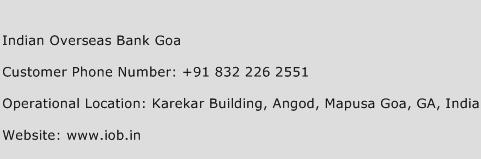 Indian Overseas Bank Goa Phone Number Customer Service