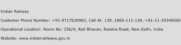 Indian Railway Phone Number Customer Service