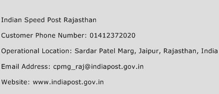 Indian Speed Post Rajasthan Phone Number Customer Service