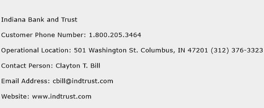 Indiana Bank and Trust Phone Number Customer Service