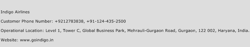 Indigo Airlines Phone Number Customer Service