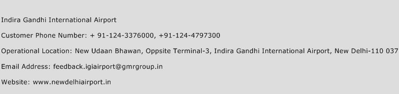 Indira Gandhi International Airport Phone Number Customer Service