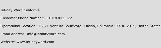 Infinity Ward California Phone Number Customer Service