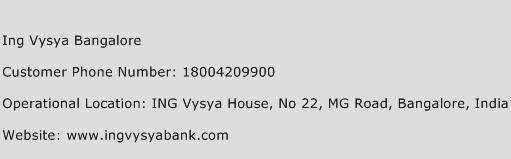 Ing Vysya Bangalore Phone Number Customer Service