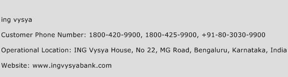 Ing Vysya Phone Number Customer Service