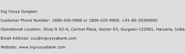 Ing Vysya Gurgaon Phone Number Customer Service