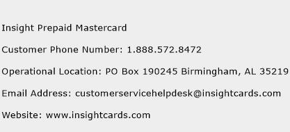 Insight Prepaid Mastercard Phone Number Customer Service