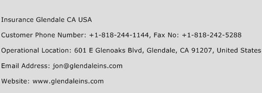 Insurance Glendale CA USA Phone Number Customer Service