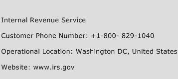 Internal Revenue Service Phone Number Customer Service