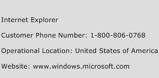 Internet Explorer Phone Number Customer Service