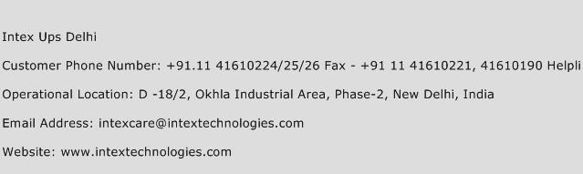 Intex Ups Delhi Address