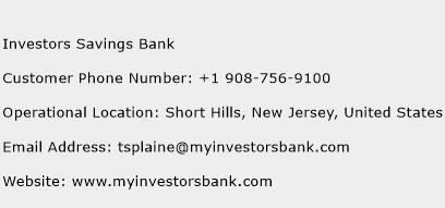 Investors Savings Bank Phone Number Customer Service