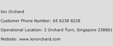 Ion Orchard Phone Number Customer Service