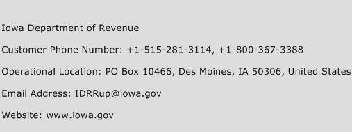 Iowa Department of Revenue Phone Number Customer Service