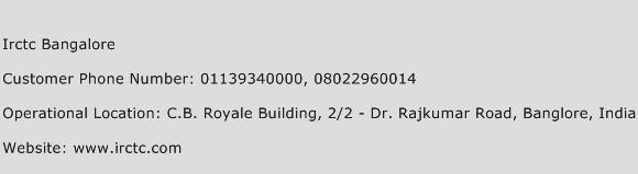 Irctc Bangalore Phone Number Customer Service