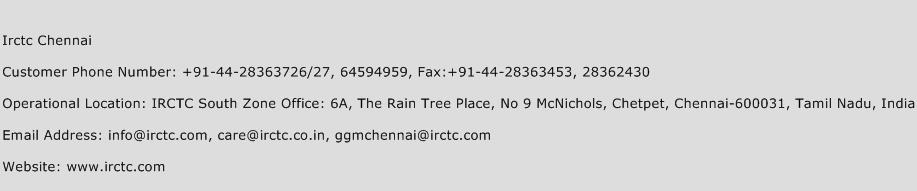 Irctc Chennai Phone Number Customer Service