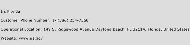 Irs Florida Phone Number Customer Service