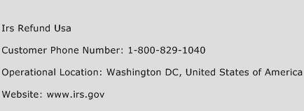 Irs Refund Usa Customer Service Phone Number Contact