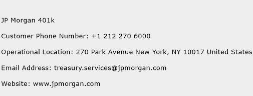 JP Morgan 401k Phone Number Customer Service