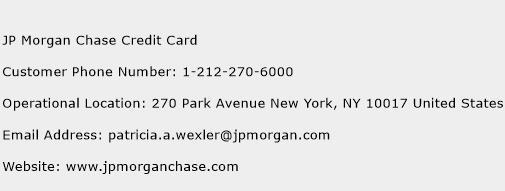 JP Morgan Chase Credit Card Phone Number Customer Service