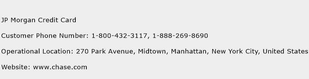 JP Morgan Credit Card Phone Number Customer Service