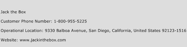 Jack the Box Phone Number Customer Service