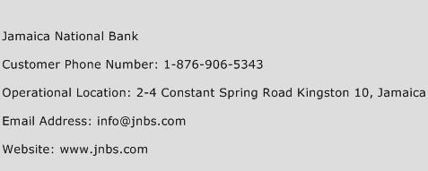 Jamaica National Bank Phone Number Customer Service