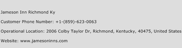Jameson Inn Richmond Ky Phone Number Customer Service